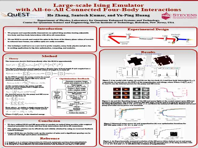 Large-scale Ising Emulator with All-to-All Connected Four-Body Interactions