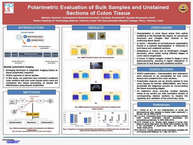 Polarimetric Evaluation of Bulk Samples and Unstained Sections of Colon Tissue