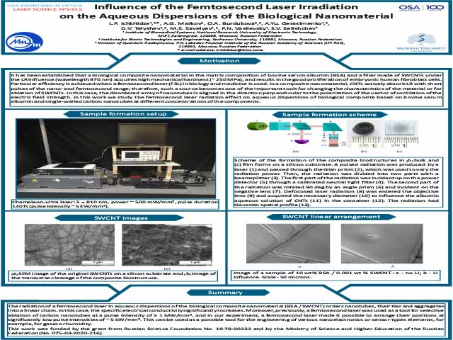Influence of the Femtosecond Laser Irradiation on the Aqueous Dispersions of the Biological Nanomaterial