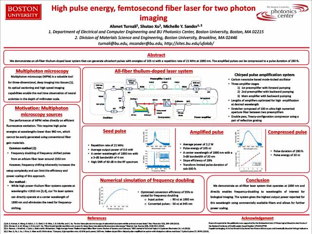 High Pulse Energy, Femtosecond Fiber Laser for Two-Photon Imaging