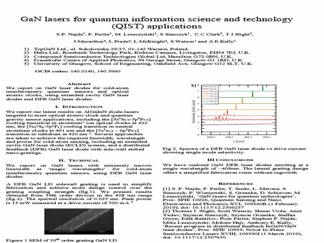 GaN lasers for quantum information science and technology (QIST) applications
