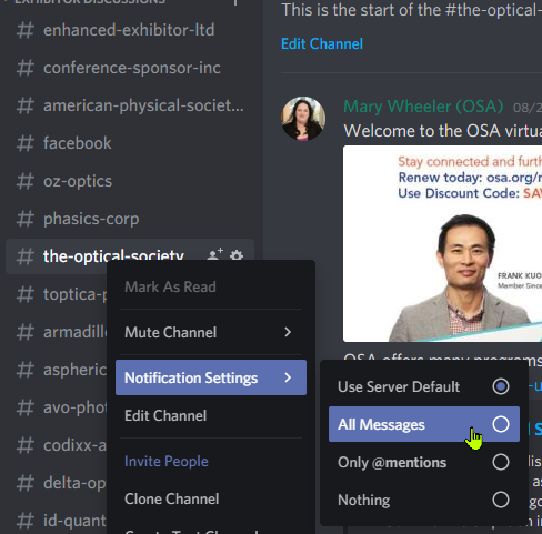 right click context menu to enable notifications in discord for a channel