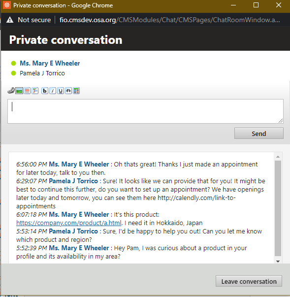 Example private chat window between two users.
